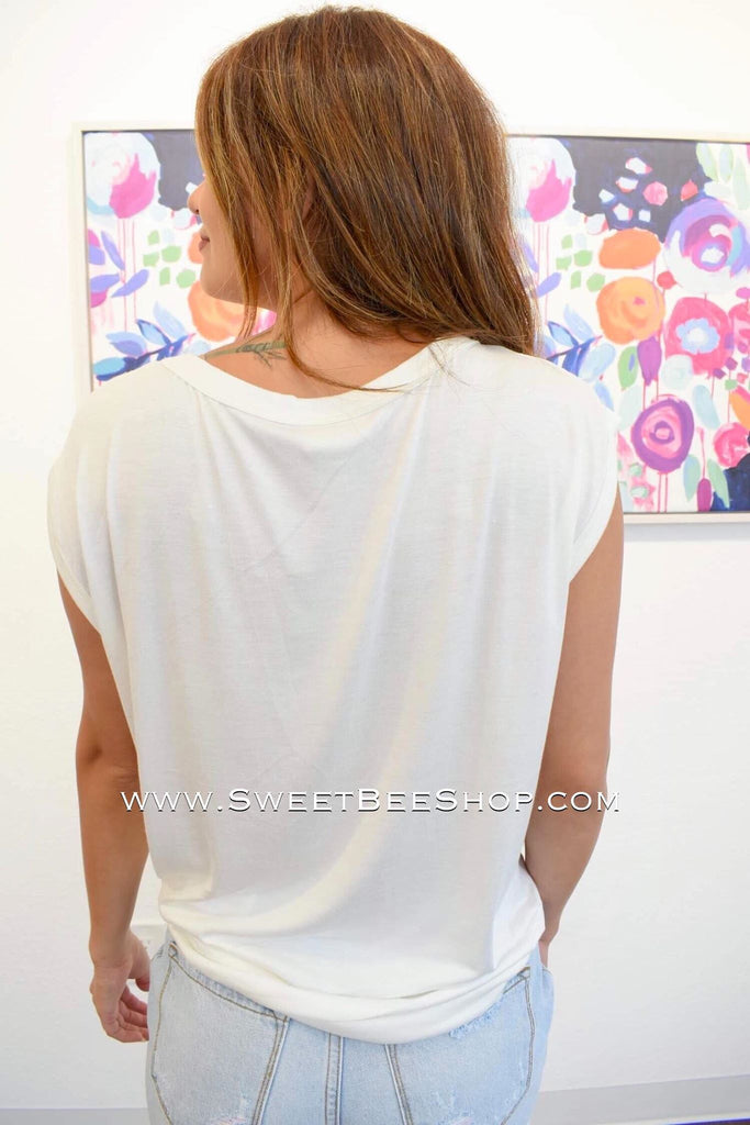 Off White Jersey Knit Terry Lace Up Top, Tops - Sweet Bee Boutique