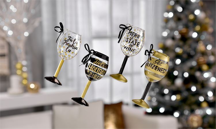 Wine Glass Ornament, Christmas Items - Sweet Bee Boutique