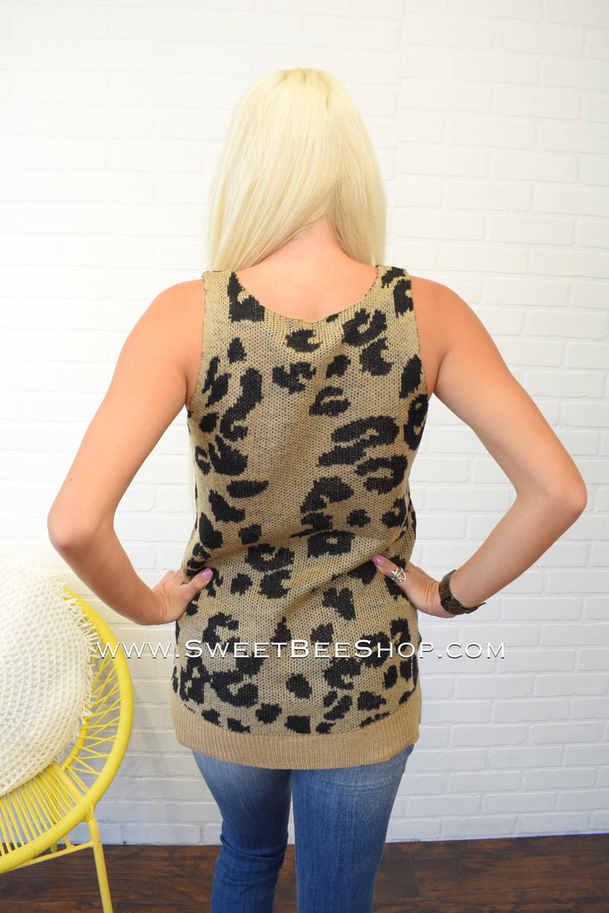 Michelle Leopard Sleeveless Light Sweater Tank, Tops - Sweet Bee Boutique