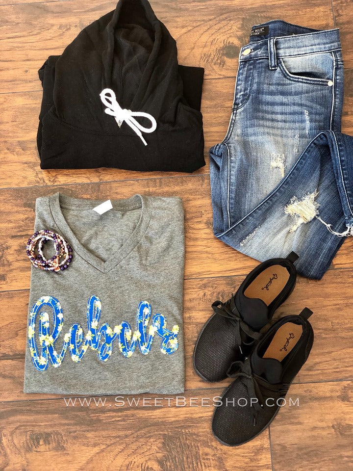 Floral Fabric Hand Sewn Gameday Bella Canvas Tee, Tops - Sweet Bee Boutique
