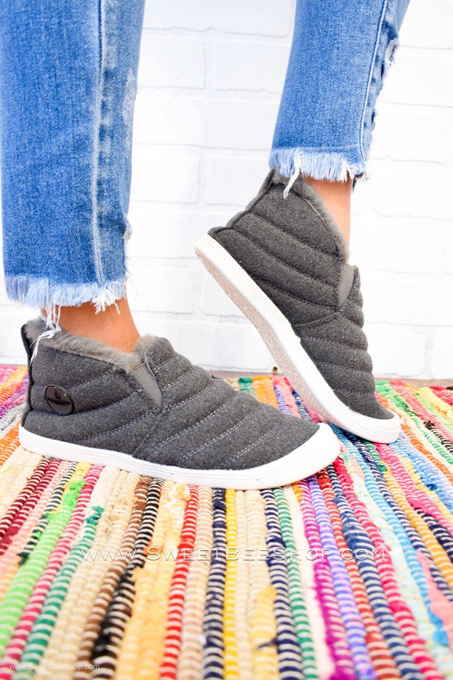 Trinity Grey Slip On Everyday Fuzzy Sneakers, Footwear - Sweet Bee Boutique