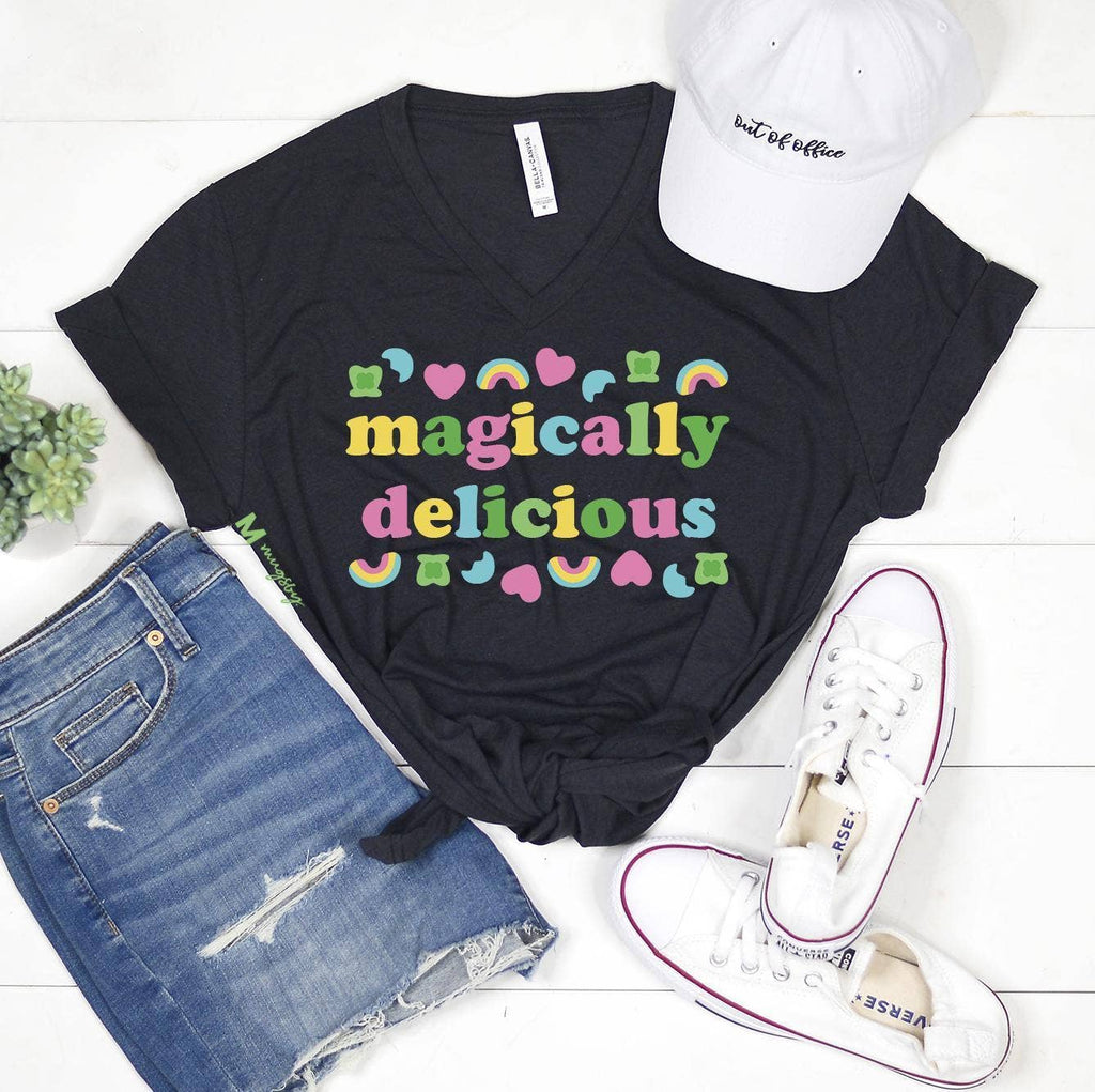 Charcoal Magically Delicious V-Neck Bella Canvas T-Shirt