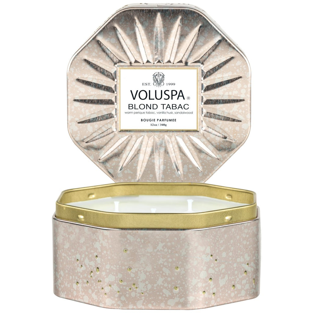 Voluspa Blond Tabac Octagon 3-Wick Tin