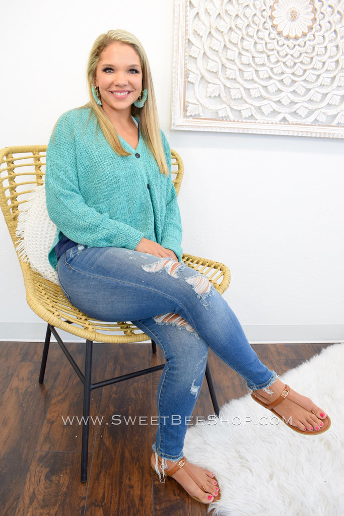 Madyson Sea Foam Chenille High-Low Button Down Sweater with Pockets, Tops - Sweet Bee Boutique