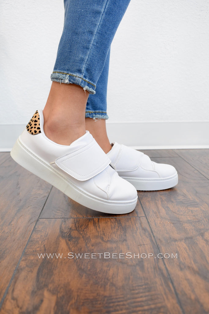 White Tennis Shoes with Velcro Strap and Leopard Print Detail, Footwear - Sweet Bee Boutique