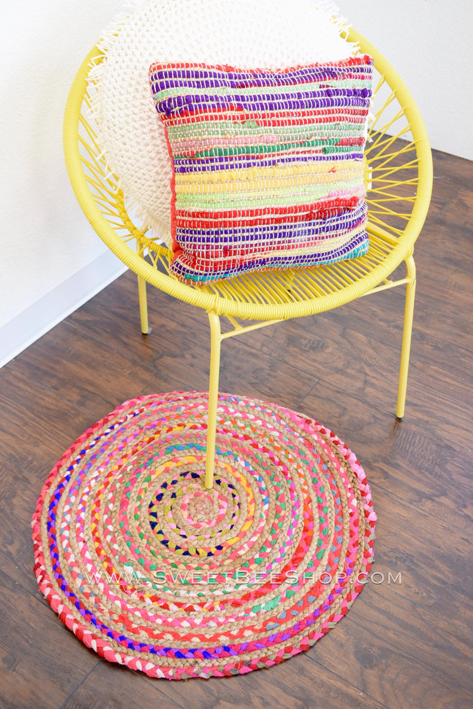 "Multi-Colored Chindi Round Rug 28"", Decor - Sweet Bee Boutique"
