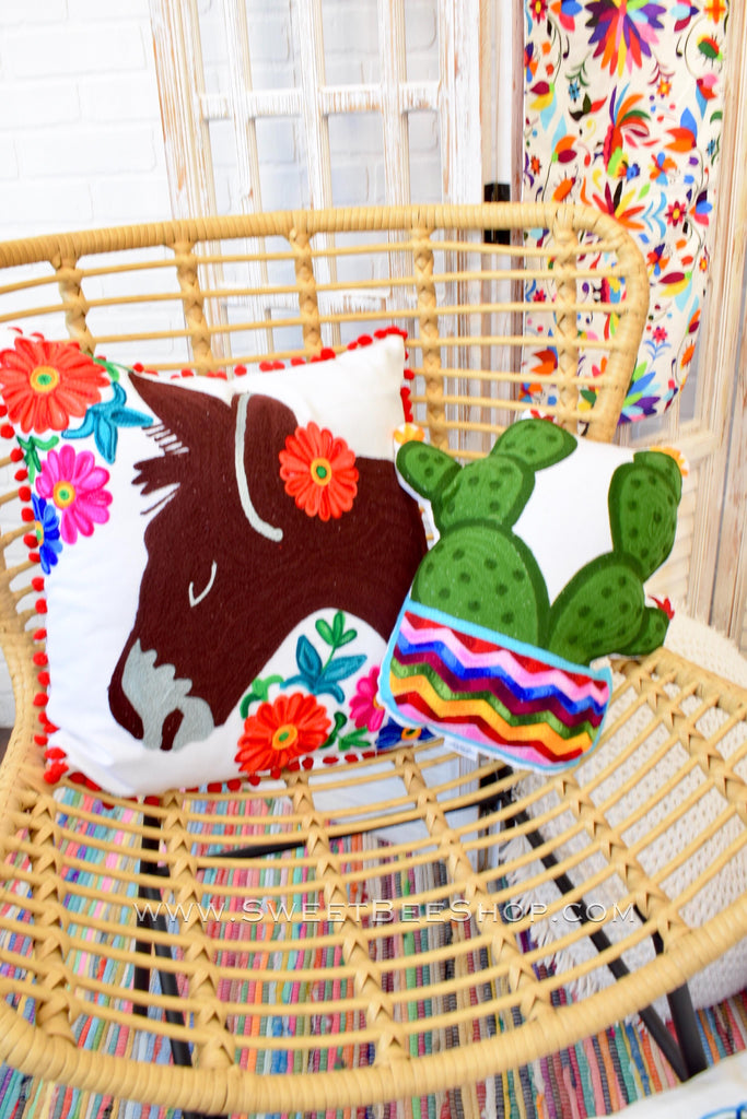 Embroidered Donkey Plush Pillow 18x18