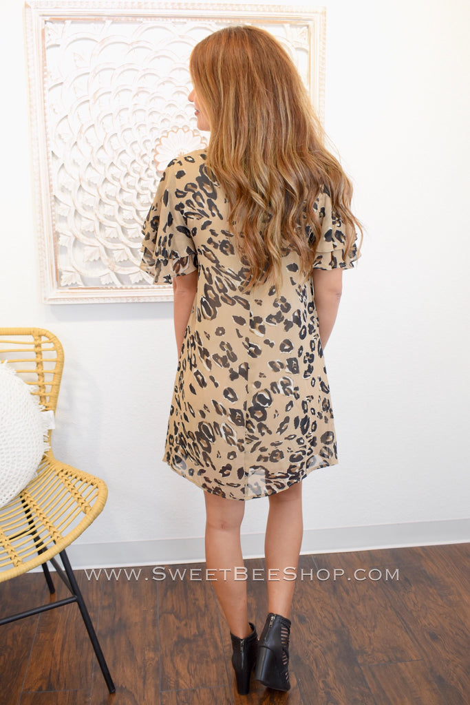 Tina Tan Leopard Animal Print Dress, Apparel - Sweet Bee Boutique
