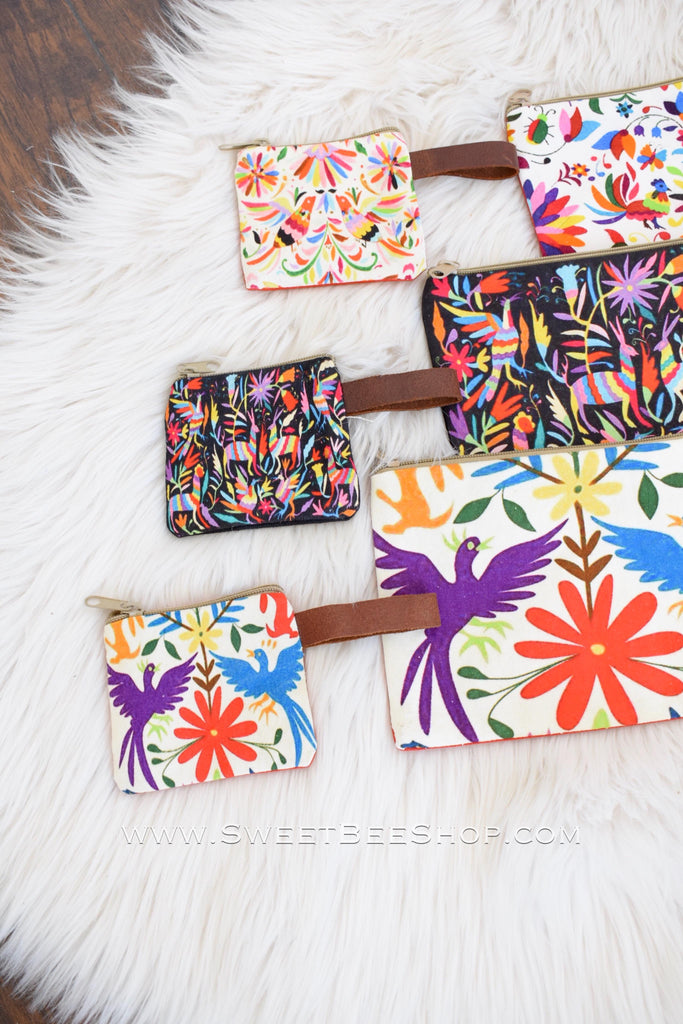 Animal Otomi Canvas Printed Coin Pouch, Bags & Purses - Sweet Bee Boutique