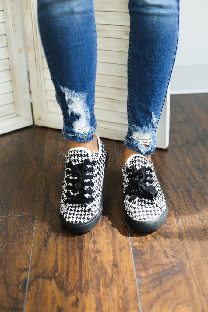 Houndstooth Black and White Sneakers, shoes - Sweet Bee Boutique