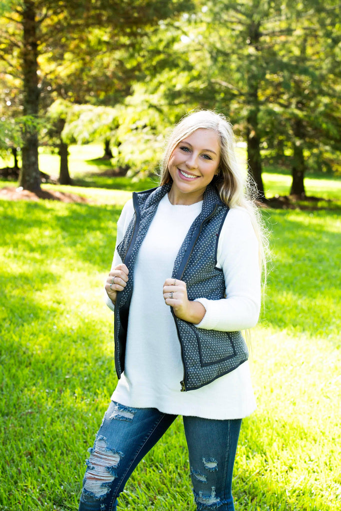 New Olivia Grey and Dots Jacket Vest with Snap Button, Tops - Sweet Bee Boutique