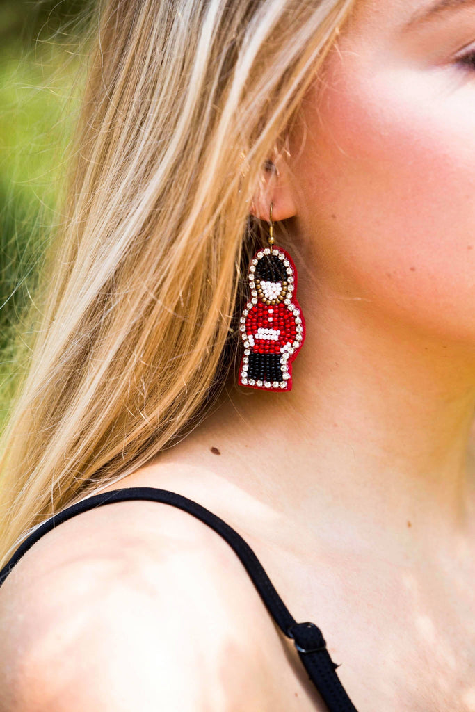 Little Toy Soldiers Beaded Earrings | Red, Accessories - Sweet Bee Boutique