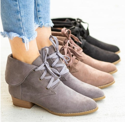 Breckelle Sandy Taupe Suede Collar Lace Up Bootie