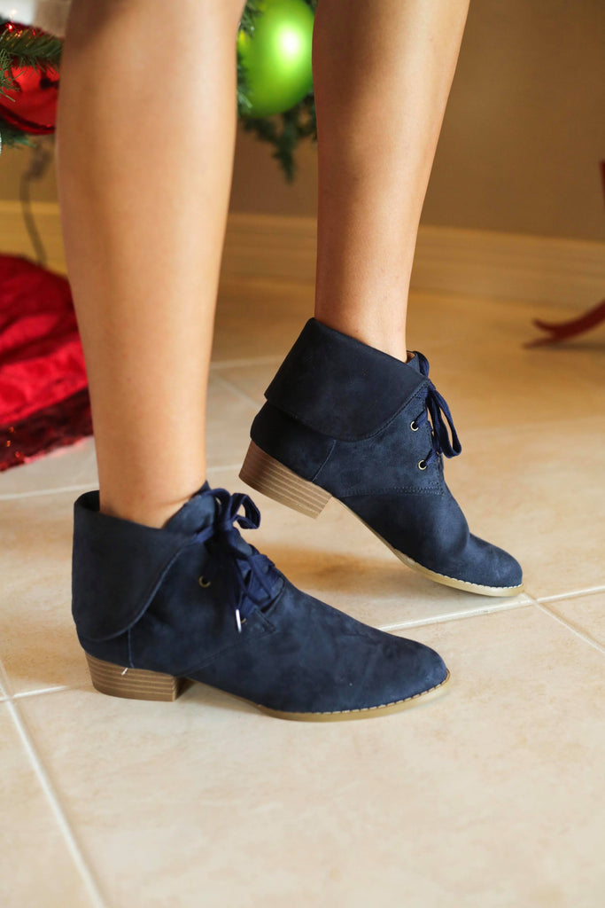 Breckelle Navy Suede Collar Lace Up Bootie