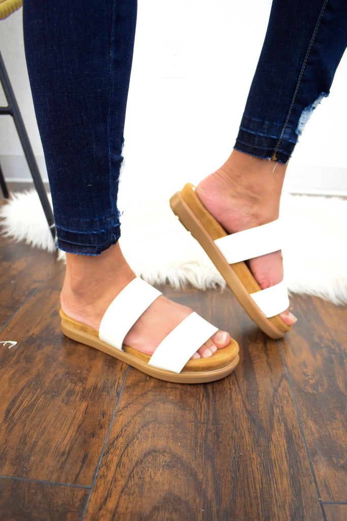 Lindsey White Double Band Slide on Sandals