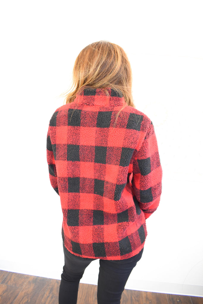 Home For The Winter Red Buffalo Plaid Pullover