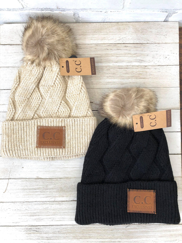 C.C. Brand Knitted Beanie with Faux Fur Pom