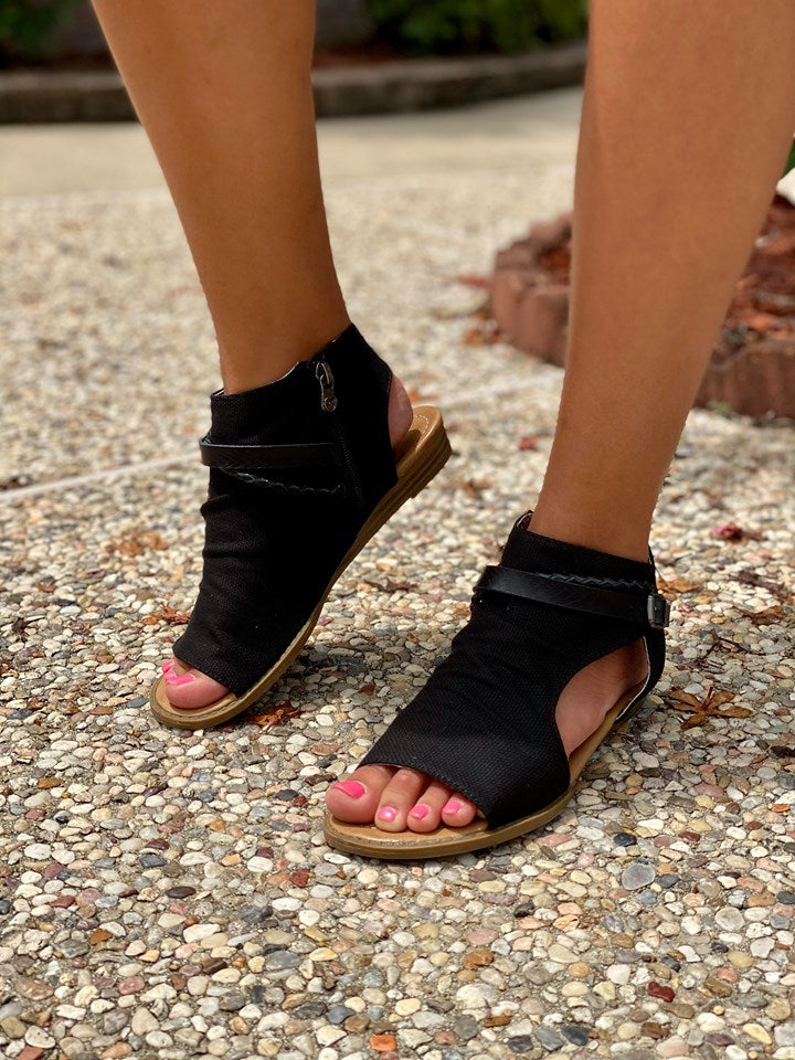 Blowfish Black Side Cut Out Sandals