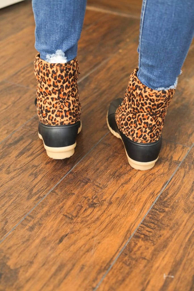 New Leopard Print Plaid Quilted Duck Boot