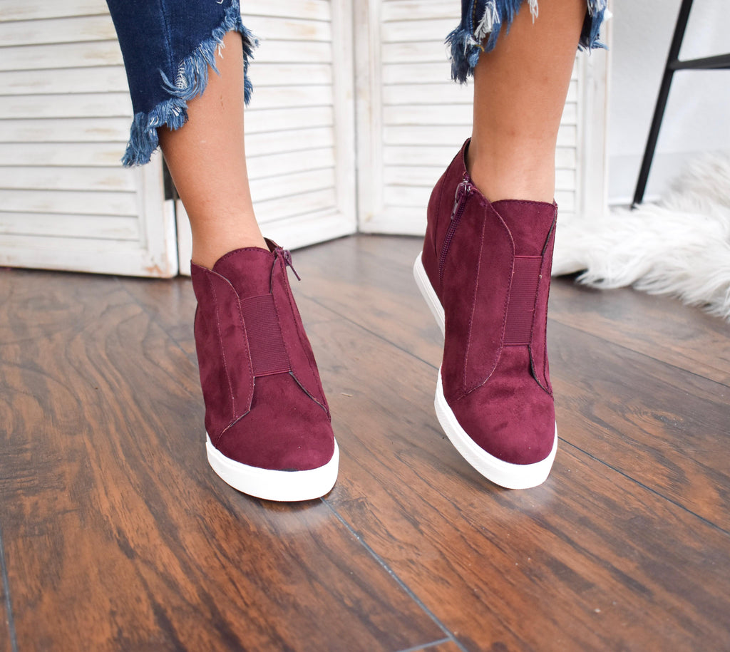 Zoey Cranberry  Sneaker Wedges