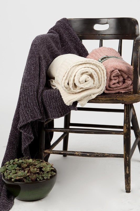 "Chenille blanket 52"" X 61"" 