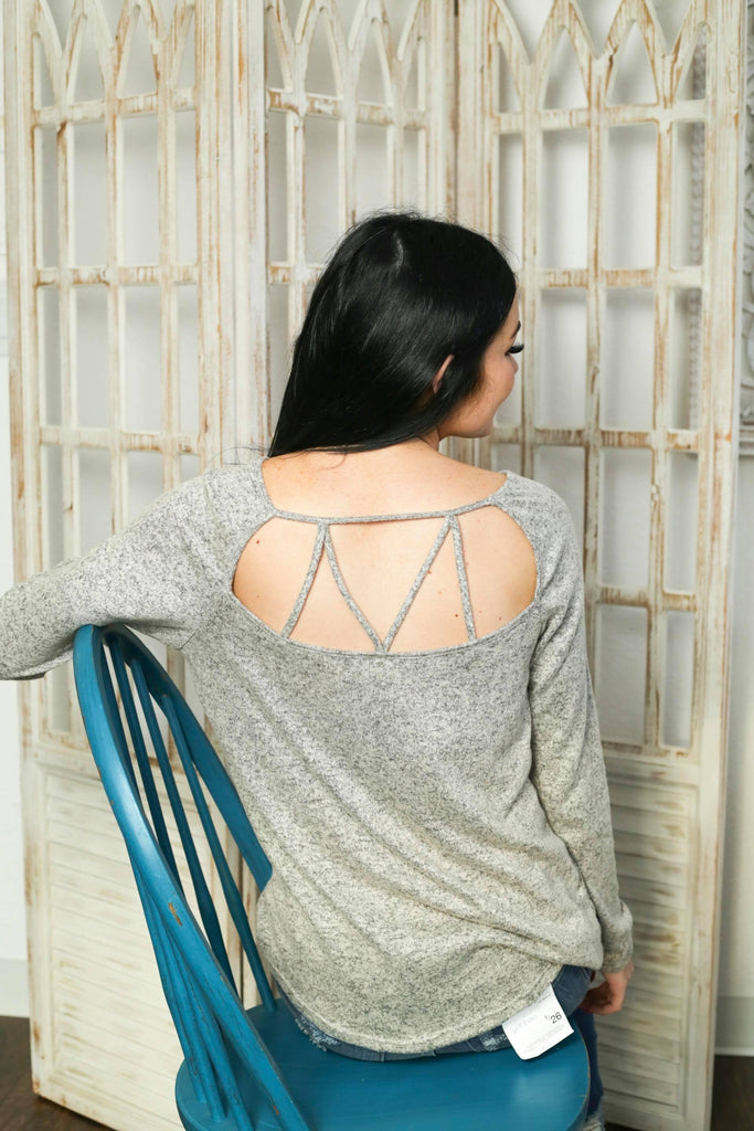 Through The Day Heather Grey Criss Cross Back Top