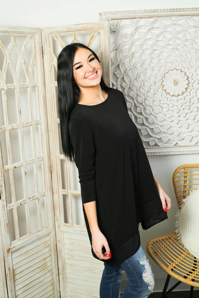 Find Your Own Happiness Black 3/4 Sleeve Chiffon Top