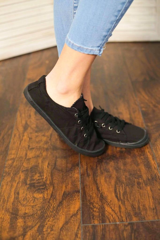 Black Lace Up Canvas Sneakers with Elastic Back