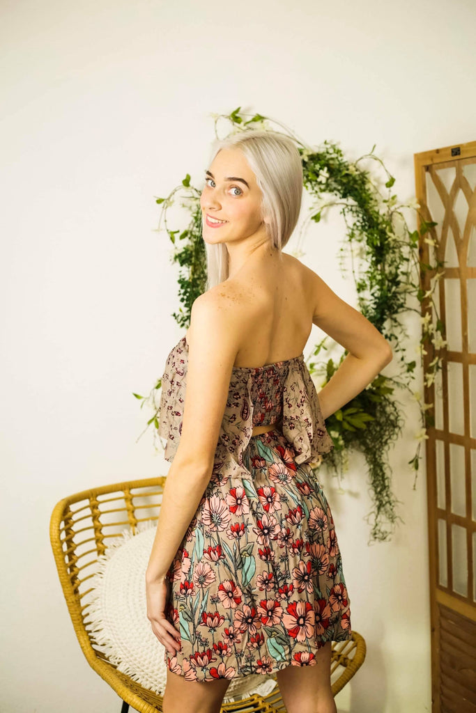 Strapless Ruched Open Back Taupe Floral Boho Dress