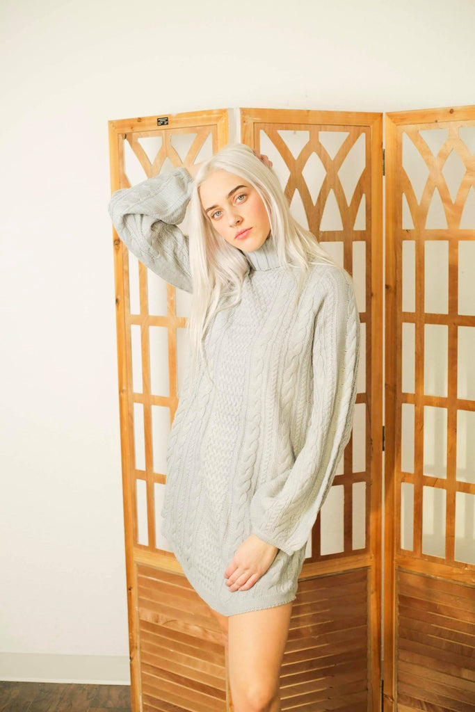 Light Grey Cable Knit Poet Sleeves Sweater Dress