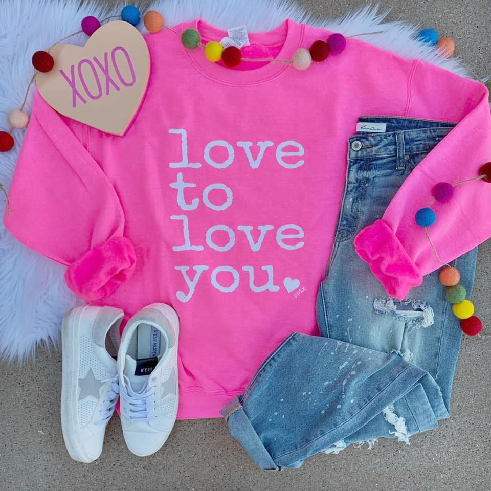Neon Pink Love To Love You Sweater