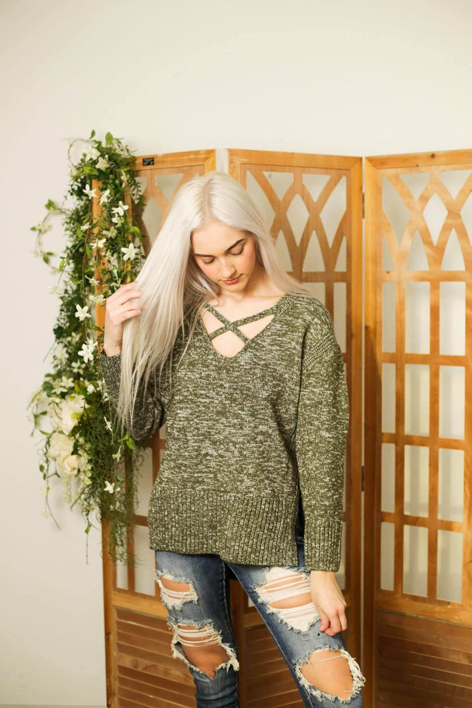 Tristyn Fall Deep V-Neck Criscross Knit Sweater