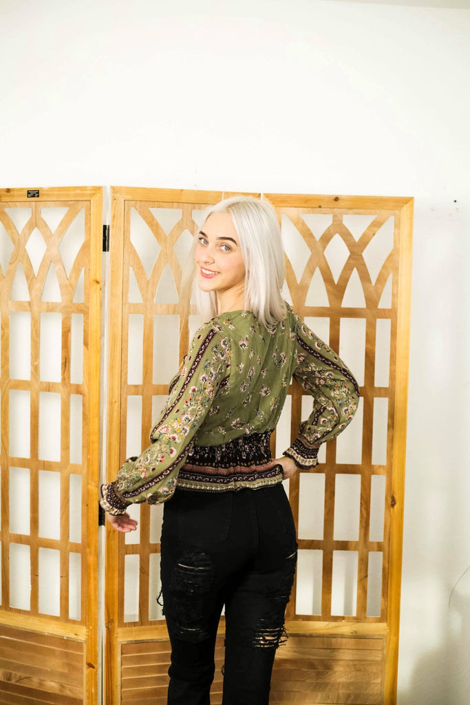 Kallye Lace Up Long Sleeve Olive Top