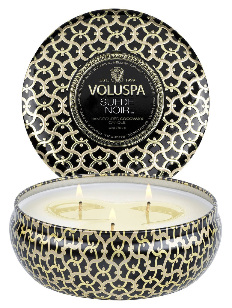 Voluspa Suede Nior 12oz 3-Wick Candle
