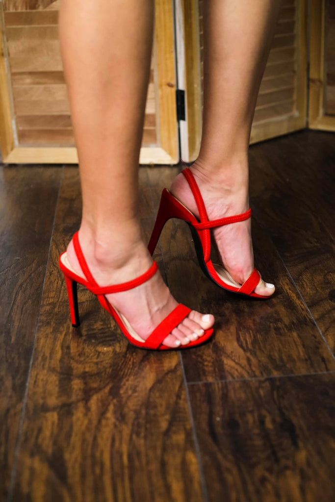 Red Multi Strappy High Heels