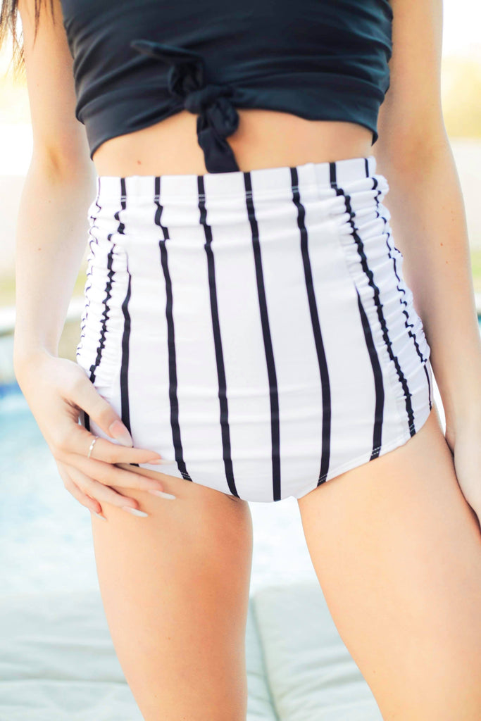 High Waisted Bathing Suit Bottoms White With Black Stripes