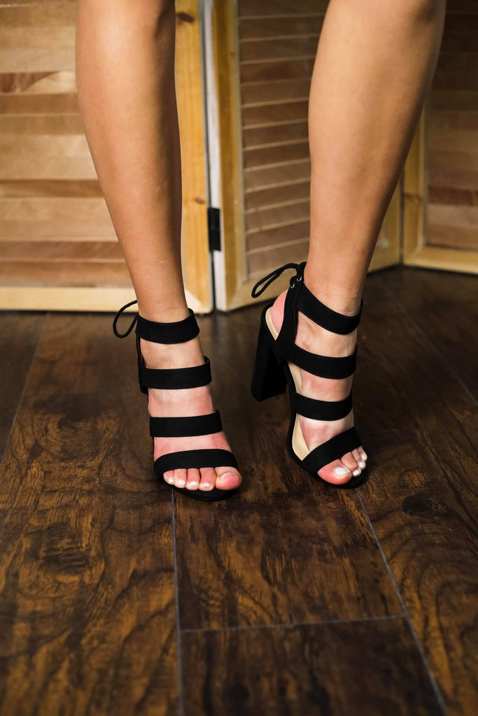 Black Multi Strap Ladies Heels