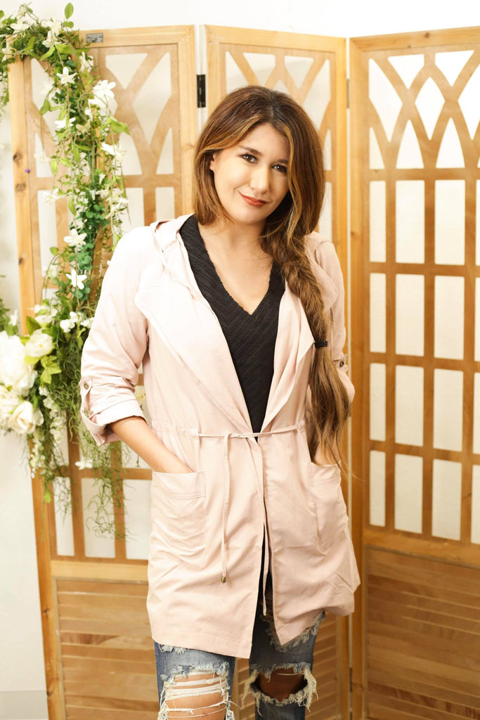 Light Pink Oversized Hooded Long Line Trench Jacket Coat