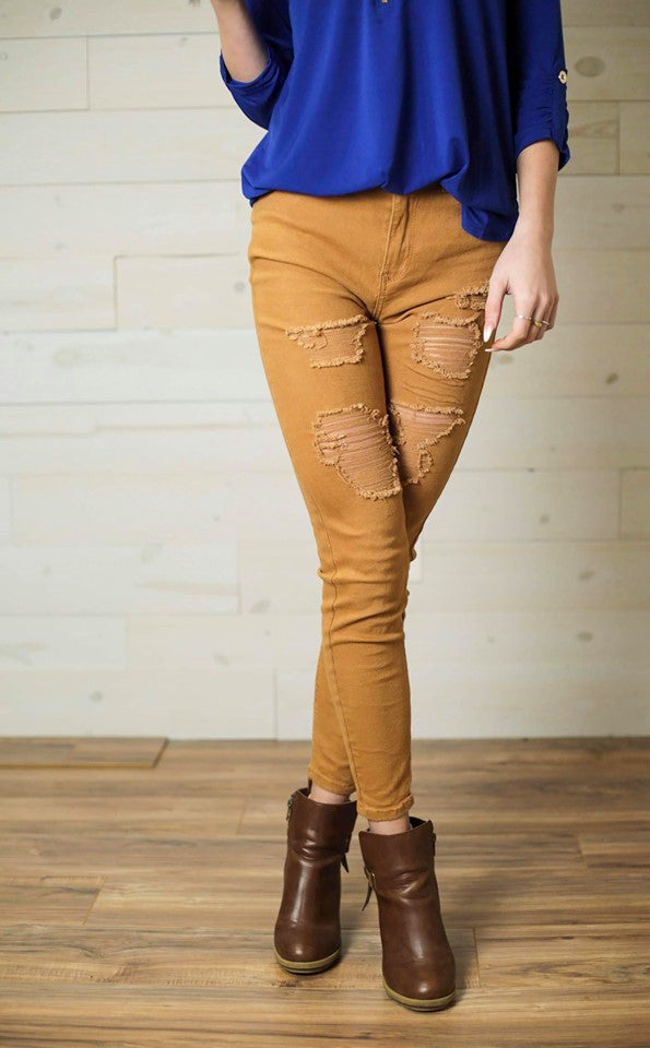 Shelly Dark Camel High Rise Distressed Skinny Jeans