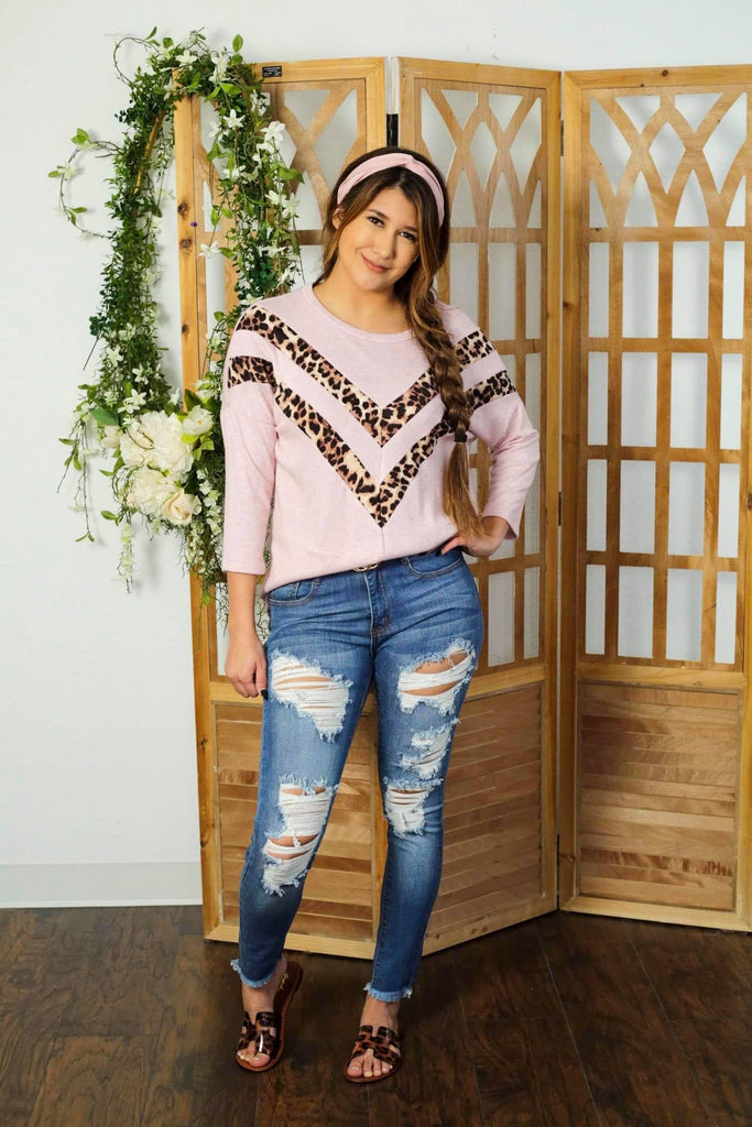 Selena Blush With Lepard Detail Drop Shoulder Sweater