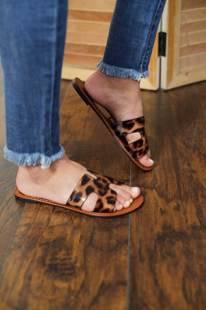 Leopard Strap Leather Sandals