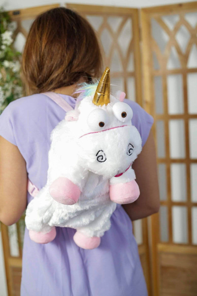 Plush White Unicorn Backpack