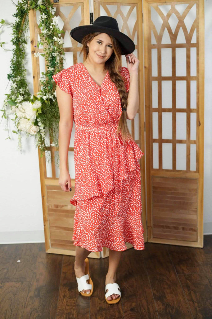 Stacy Tangerine Short Sleeve Woven Dress With Waist Sash