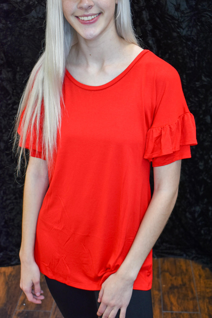 Audi Red Short Ruffle Sleeve Blouse