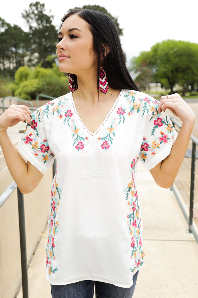 Savannah Floral Embroidered Ivory Pompom Top