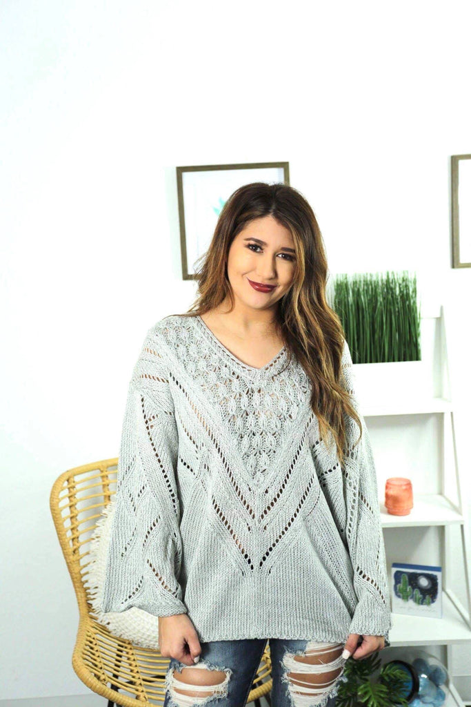 Lydia Heather Grey Long Sleeve Knitted Sweater