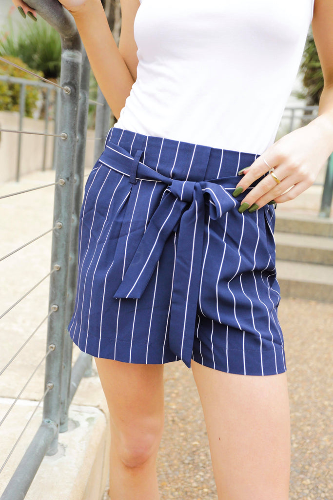 Amara Navy Shorts With Ivory Stripes & Waist Tie