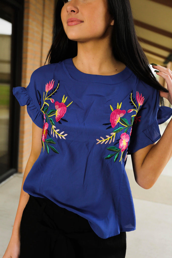 Rosie Royal Blue Short Sleeve Embroidered Woven Top