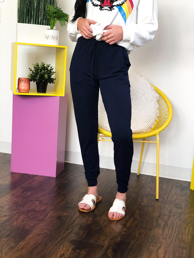 Jazz Navy Blue Jogger Pants With Drawstring