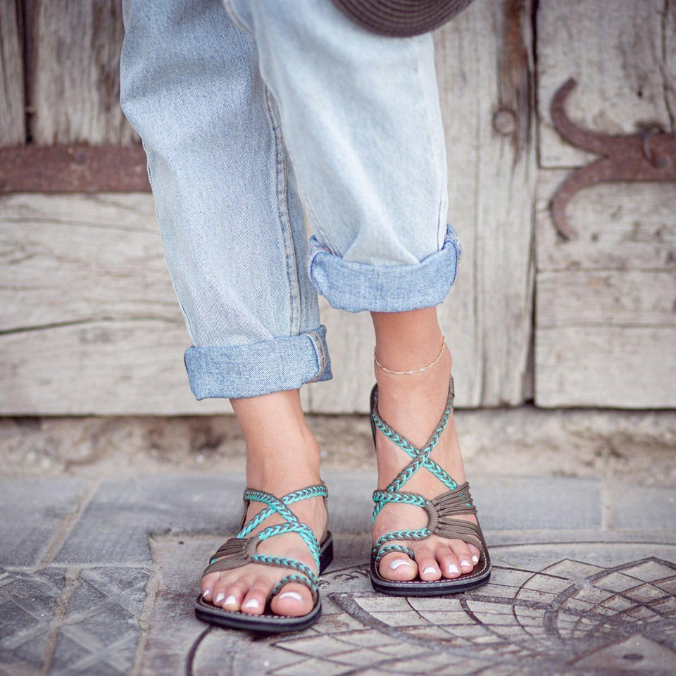 Plaka Oceanside Turquoise & Grey Sandals